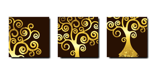 Set Tree of life, Tree natural logo and golden tree art nouveau style symbol icon vector design isolated on brown background. Gold leaf wooden natural ethics concept, vintage blossoming swirl tree