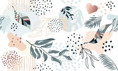 Seamless exotic pattern with tropical plants