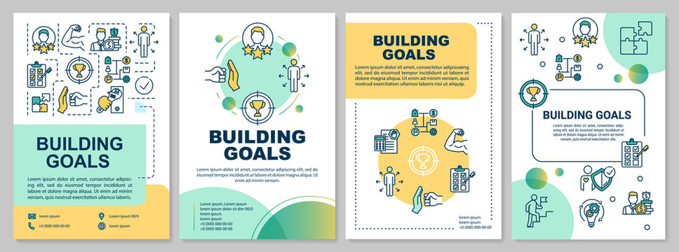 Building goals brochure template. Self-development practice. Flyer, booklet, leaflet print, cover design with linear icons. Vector layouts for magazines, annual reports, advertising posters