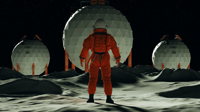 Astronaut Moon Base man on the Moon in an Orange Space Suit and White Helmet Standing Back View 3d Illustration 3d render
