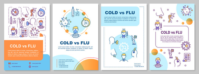In de dag Hoogte schaal Cold vs flu brochure template. Respiratory disease symptoms. Flyer, booklet, leaflet print, cover design with linear icons. Vector layouts for magazines, annual reports, advertising posters