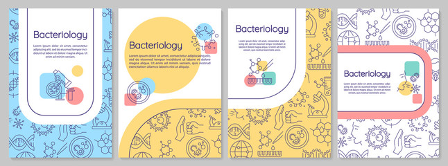 In de dag Hoogte schaal Bacteriology brochure template. Healthcare research. Flyer, booklet, leaflet print, cover design with linear icons. Vector layouts for magazines, annual reports, advertising posters