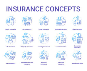 Insurance concept icons set. Protection from financial loss. Liability plan. Risk management idea thin line RGB color illustrations. Vector isolated outline drawings. Editable stroke