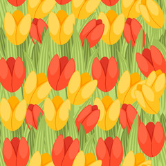 Seamless pattern spring red and yellow tulip green flower pattern and grass flat vector illustration