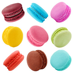 Poster Macarons macaroons isolated on white background, clipping path, full depth of field