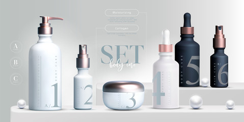 Fototapeta Vector 3D elegant cosmetic products set background premium cream jar for skin care products. Luxury facial cream. Cosmetic ads flyer or banner design. Cosmetic cream template. Makeup products brand. obraz