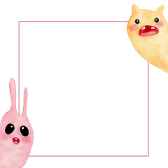 square pink cartoon-style frame with pink and yellow slug on a white background .  Watercolor illustrations for postcards, Wallpapers, fabrics, textures, designs, and so on
