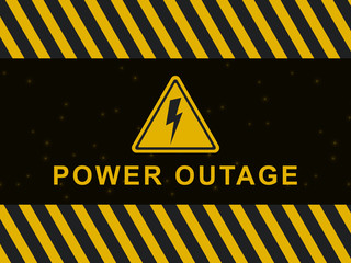 Power outage warning banner. Blackout poster. Power outage icon and sign on a black and yellow vector background. Vector illustration EPS10.