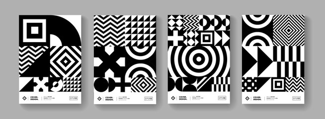 Cool minimal geometric poster collection vector design.  Trendy pattern.