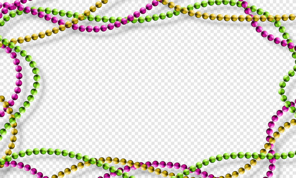 Mardi Gras beads isolated on transparent background in traditional colors purple, gold and green. Fat Tuesday decoration element. Vector illustration