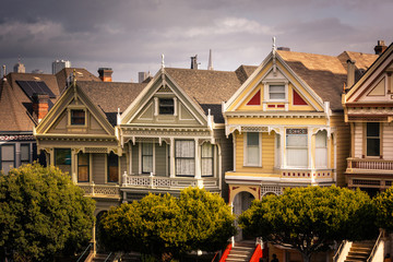 Painted Ladies houses and San Francisco's skyline at the back, California State, United States.