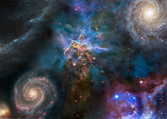 Wall Murals Nasa Deep space look. Mystic Mountain of Carina Nebula between far galaxies and stars. Science fiction wallpaper. Elements of this image were furnished by NASA.