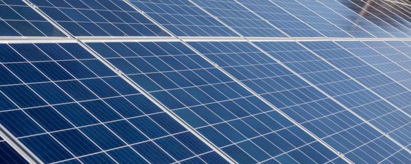 Obraz Panorama Solar Panels background for solar energy concept images. - fototapety do salonu