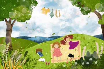 Poster Forest animals cartoon of two little girl lying down on green grass in the park, Landscape spring field with happy kids laying on the grass in sunny day. illustration Children playing outdoor in spring or summer