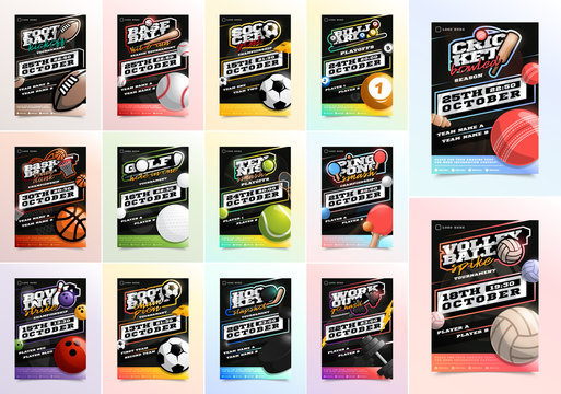 Sport Flyer Ad Mega Set Vector. Ice Hockey, Basketball, Tennis, Soccer, gym, billiard, bowling football emblem logo. Design For Sport Bar Promotion Template. A4 Size. Championship Flyer Illustration