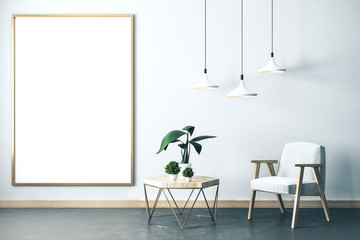 Spoed Foto op Canvas Planten Living room interior with chair