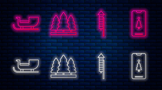 Set line Christmas trees, Firework rocket, Christmas santa claus sleigh and Smartphone with gift box. Glowing neon icon on brick wall. Vector