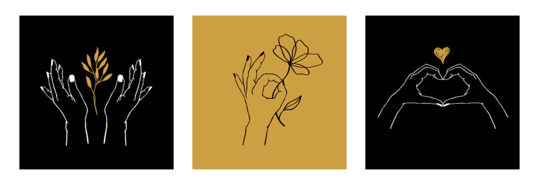 Vector set of female hands in different gestures: holding plant, flower and making heart of fingers. Abstract trendy template cards with logos or emblems for cosmetics, packaging or beauty products