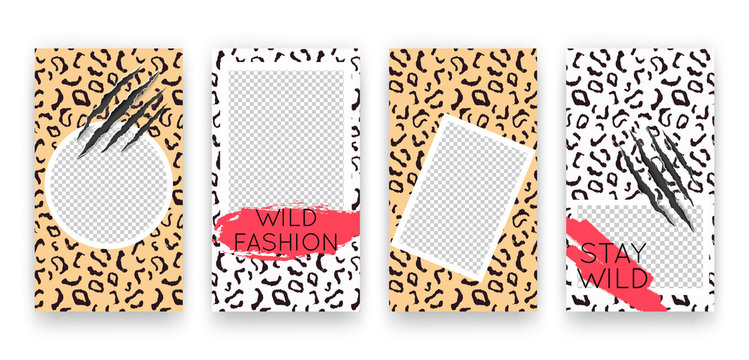 Vector trendy editable set of templates for social media networks stories. Modern design backgrounds with animal pattern for flyers, cards, posters