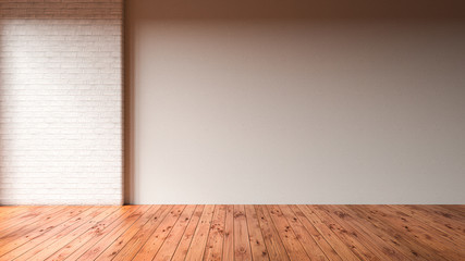empty room with wooden floor and brick wall