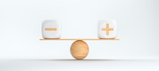 wooden scale balancing cubes with plus and minus arguments