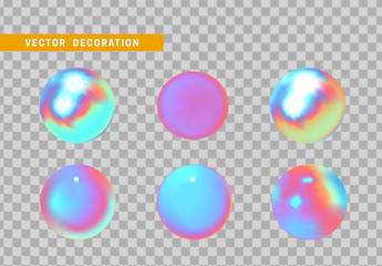 Fotomurales - Set is three-dimensional geometric shape isolated with colorful hologram chameleon color gradient. 3d objects round ball. vector illustration.