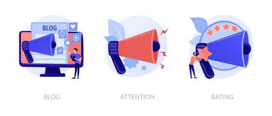 Promotion methods icons set. Popular blogger, public announcement, service quality evaluation system. Blog, attention, rating metaphors. Vector isolated concept metaphor illustrations
