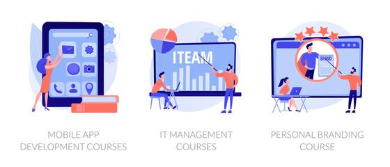 App programming, training workshop, reputation development. Mobile app development courses, it management courses, personal branding course metaphors. Vector isolated concept metaphor illustrations