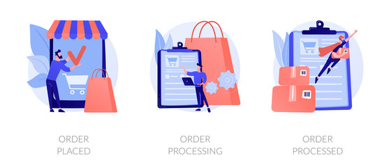 Wall Mural - Mobile shopping app, modern online technology, internet customer service icons set. Order placed, order processing, order processed metaphors. Vector isolated concept metaphor illustrations
