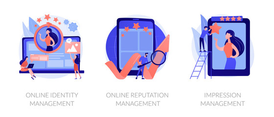 Web presence establishment, crm software, self presentation. Online identity management, online reputation management, impression management metaphors. Vector isolated concept metaphor illustrations