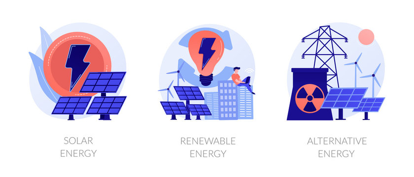 Eco friendly innovations, sustainable technology, solar panels and wind turbines use. Solar energy, renewable energy, alternative energy metaphors. Vector isolated concept metaphor illustrations