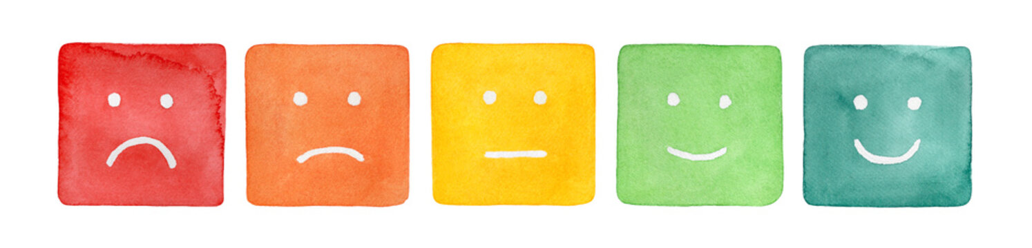 Watercolour illustration set of five simple faces with negative and positive emotion; square shaped. Hand painted water color drawing on white background, cutout clip art elements for creative design.