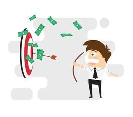 Businessman Shoots Arrow To The Target. Business Concept Cartoon Illustration