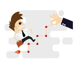career planning - Businessman climbs the ladder of success