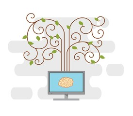 brain on a computer monitor.vector illustration.