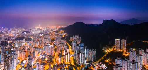 Wall Mural - Night of Kowloon district, under the lion rock mountain, Hong Kong, cityscape