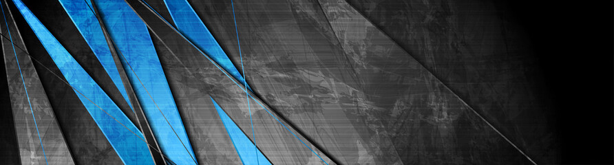 Fotobehang - Contrast blue and grey stripes. Abstract grunge tech banner design. Old wall concrete texture background. Vector illustration