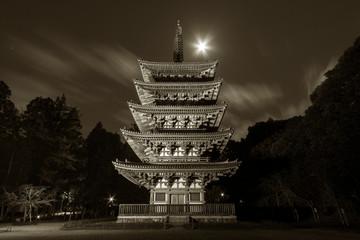 Fototapete - Night scenery of historical pagoda in Daigoji temple, Kyoto, Japan