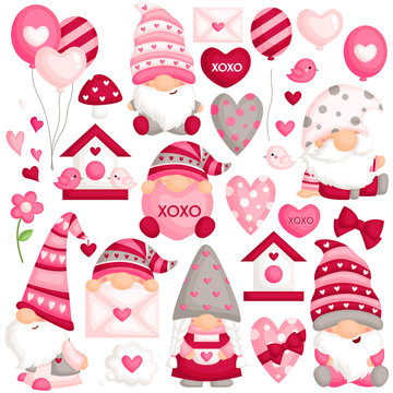 A Vector Set of Cute Gnome In Many Poses Celebrating Valentine's Day