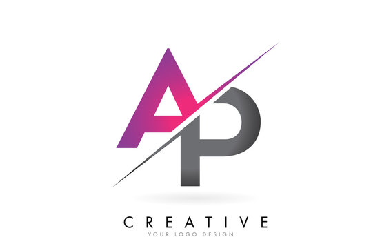 AP A P Letter Logo with Colorblock Design and Creative Cut.