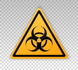 Hazard warning epidemic. Danger warning, isolated on white background. Yellow triangular sign threat. Sign biohazard. Safety symbol. Banner for bio, toxic, radiation hazard. Vector icon. Coronavirus