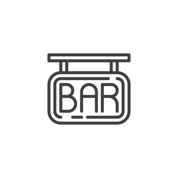 BAR Signage line icon. linear style sign for mobile concept and web design. Bar signboard outline vector icon. Symbol, logo illustration. Vector graphics