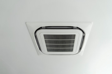 Ceiling mounted cassette type air conditioner in the modern building