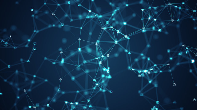 Connecting people on the internet, nodes transforming. Social network connections. Information technology of internet of things IOT big data clouds computing using artificial intelligence AI.