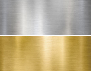 Metal brushed silver and gold textured plates