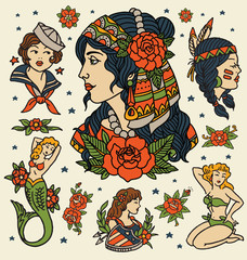 Tattoo Women set. Isolated flash of classic women tattoo vectors.