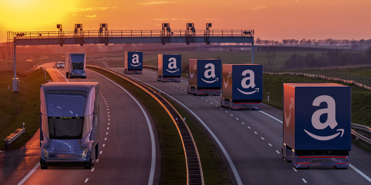 vision of an autonomous road transport carried out by Tesla Semi Truck trucks for the Company Amazon