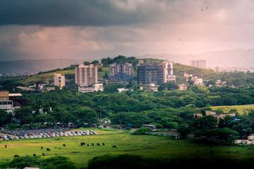 Fotobehang Lichtroze Beautiful aerial view landscape of green Pune city, Maharashtra, India