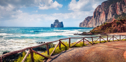 Panoramic summer view of popular tourist destination - Concali Su Terrainu. Splendid morning scene of Sardinia island, Italy, Europe. Astonishing seascape of Mediterranean sea.