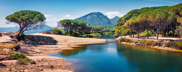 Papiers peints Rivière de la forêt Panoramic morning view of Osala Beach. Colorful spring scene of Sardinia island, Italy, Europe. Beautiful seascape of Mediterranean sea. Traveling concept background.
